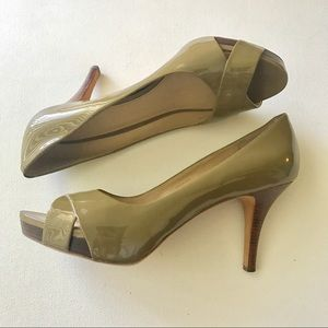 Via Spiga Shoes - Via Spiga Patent Leather Open Toe Pumps Size 11M